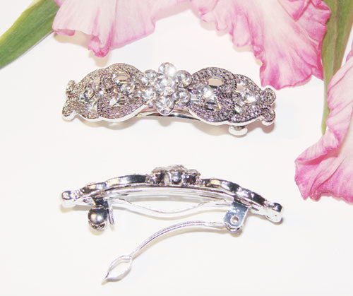 Vintage Silver Crystal Bridal Hair Barrette (Set of 12)
