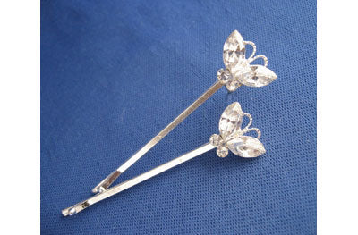 Rhinestone Butterfly Bobby Pins - Set of 2