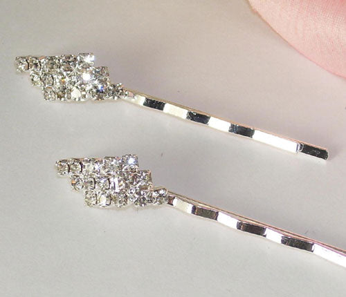 Silver with Clear Stones Hair Accents Bobby Pins (Set of 2)