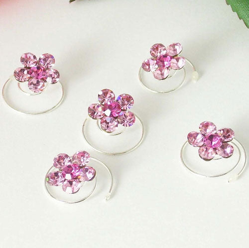Silver & Pink Floral Hair Accents Twist Ins (Set of 12)