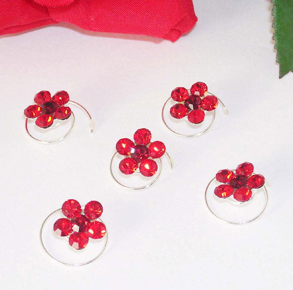 Silver & Red Floral Hair Accents Twist Ins (Set of 12)
