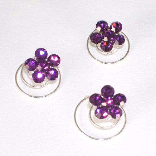 Silver & Light Amethyst Floral Hair Accents Twist Ins Set/12