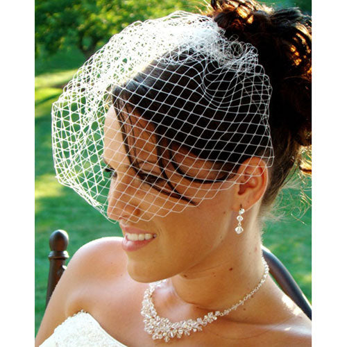 Couture Birdcage Bridal Face Veil on Comb - White/Ivory