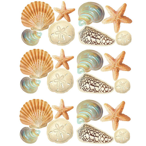 Seashore Shells Wall Stickers Set of 24 Wall Decals Stickers Room Decor