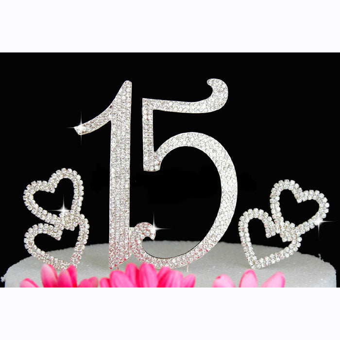 15th Birthday Cake Topper Quinceanera Bling Birthday Caketop with Hearts Cake Picks