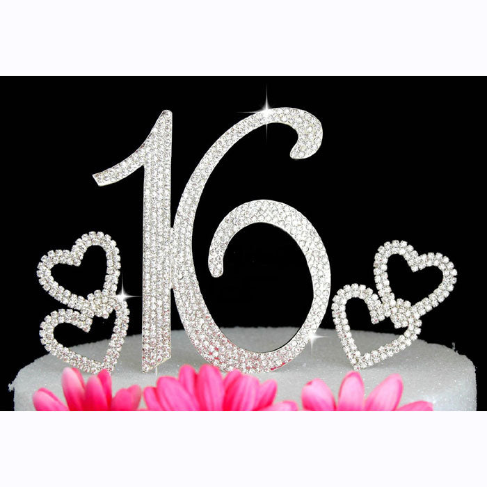 16th Birthday Cake Topper Sweet Sixteen Bling Birthday Caketop with Hearts Cake Picks