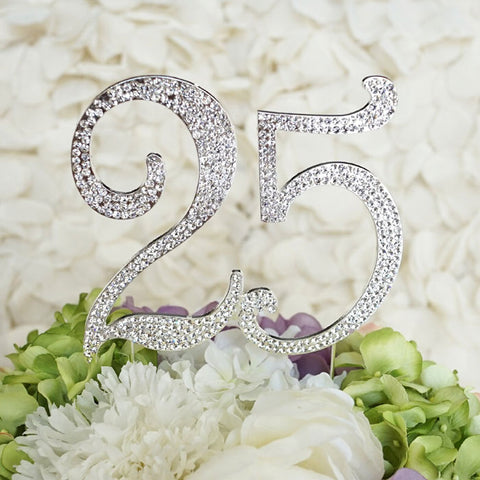 25th Birthday Cake Topper with Sparkling Crystals Bling Birthday Cake Topper