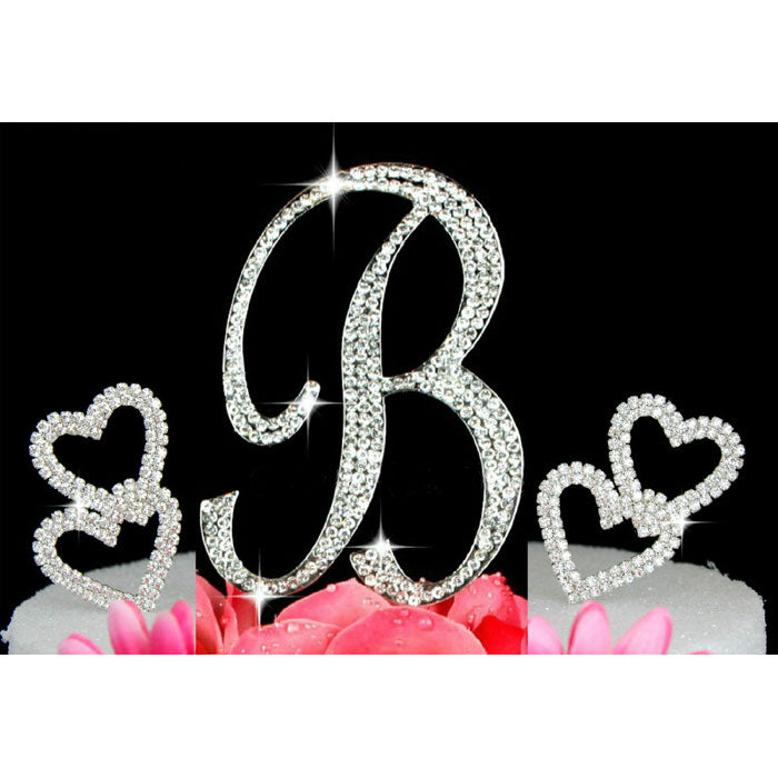 Custom Crystal Monogram Cake Topper with 2 Hearts design Silver Cake Initial A to Z Any Letter