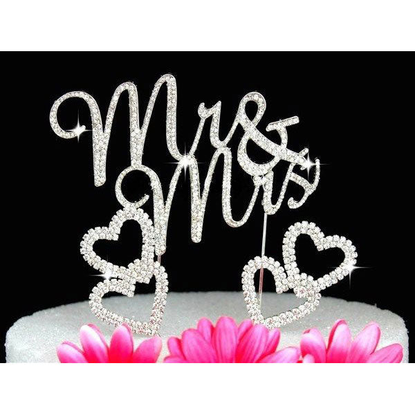 Crystal Cake Toppers Mr and Mrs Wedding Cake Toppers with Hearts