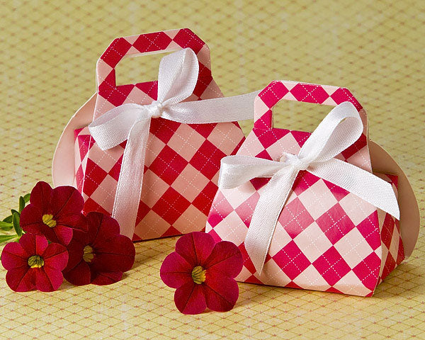 24 Plaid Pink Purse Favor Boxes Bridal Shower Favors Lady Nightout Party Favors