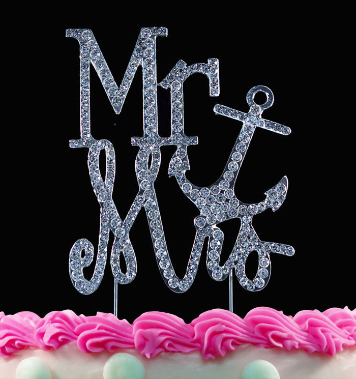 Mr and Mrs Anchor Crystal Cake Toppers Bling Cake Toppers Top