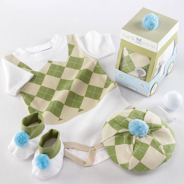Baby Gifts Three Piece Golf Layette Set in Golf Cart Packaging