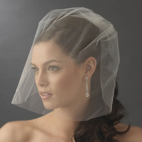 Simple Fine Birdcage Style Blusher Face Veil White or Ivory