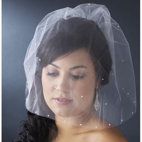 Bird Cage Style Blusher Face Veil with Scattered Pearls White or Ivory