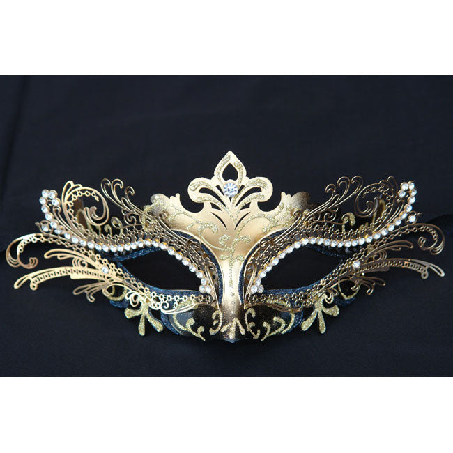 Black and Gold Laser Cut Metal Masquerade Mask with Crystals on Eyes