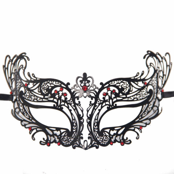 Masquerade Mask Black Metal Mask with Red Diamonds Stunning