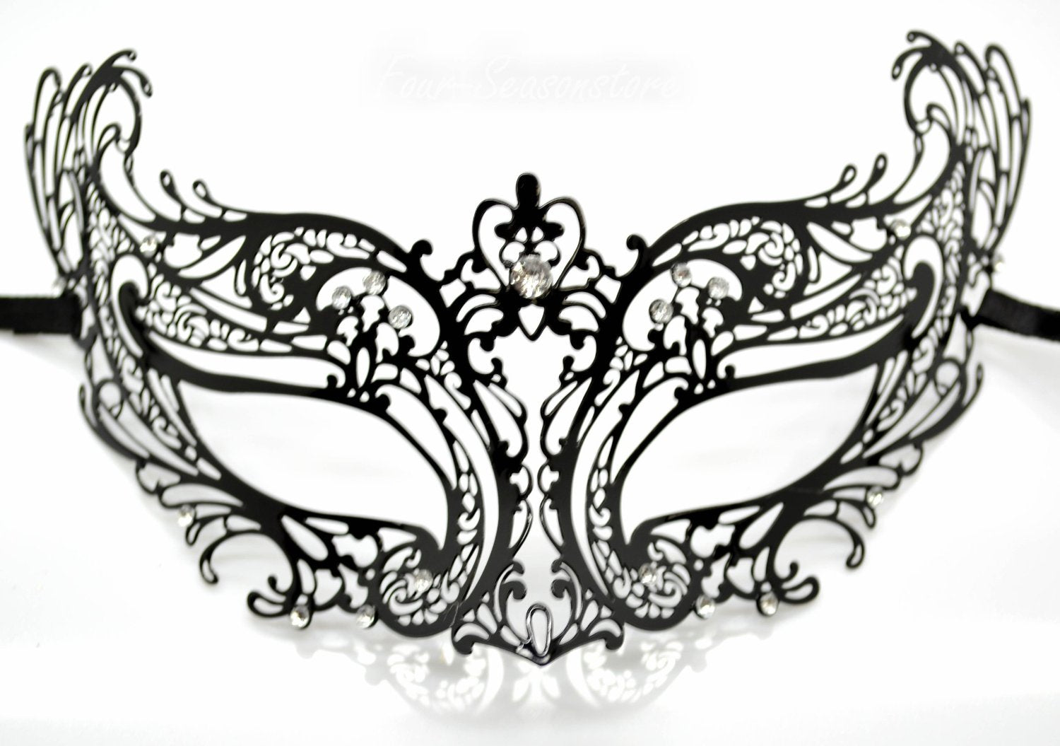 Masquerade Mask Black Metal Mask with Clear Diamonds Stunning