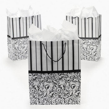 Large Black and White Wedding Gift Bags (Pack of 12)