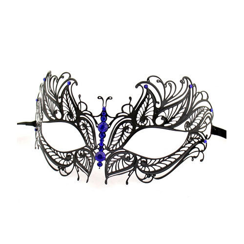 Black Butterfly Metal Laser Cut Masquerade Mask with Blue Diamonds