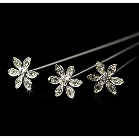 Bouquet Jewelry Rhinestone Crystal Flower (Set of 6)