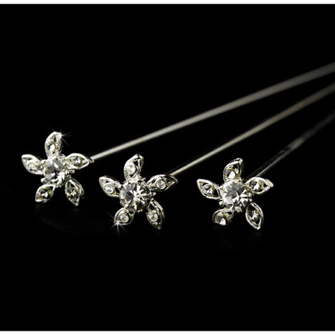 Bouquet Jewelry Rhinestone Encrusted Floral Bloom (Set of 6)
