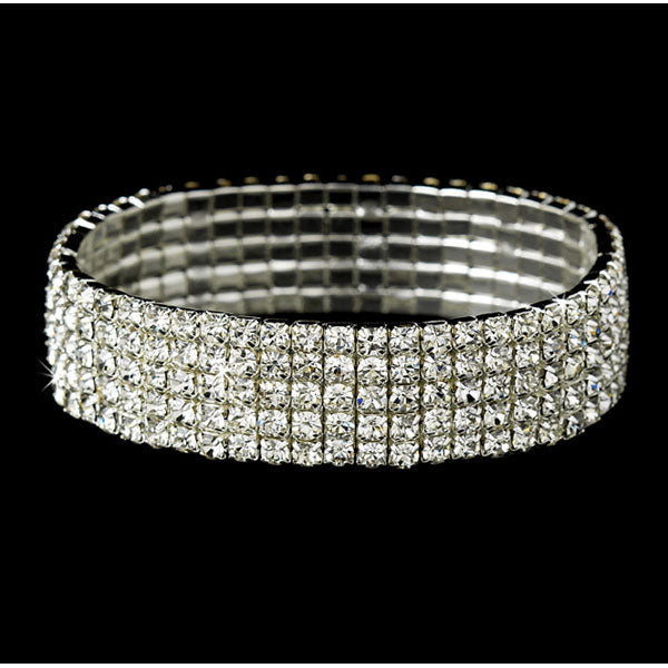 Silver 5 Row Clear Rhinestone Stretch Bracelet