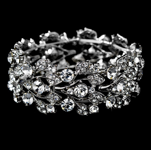 Glitzy Silver Bowtie Stretch Bracelet with Clear Crystals