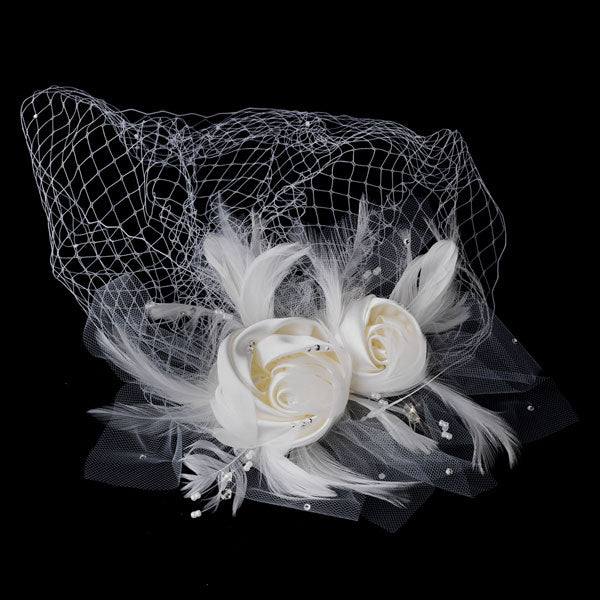 Twin Matte Satin & Feather Flower Fascinator on Russian Tulle