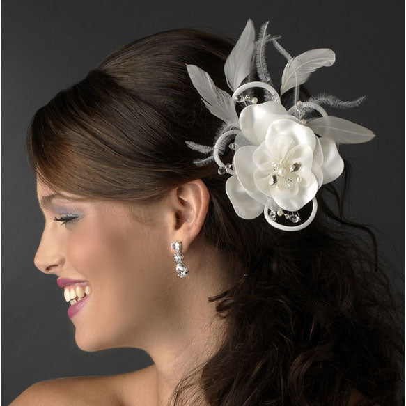 Flower Bridal Hair Clip with Swarovski & Pearl White or Ivory
