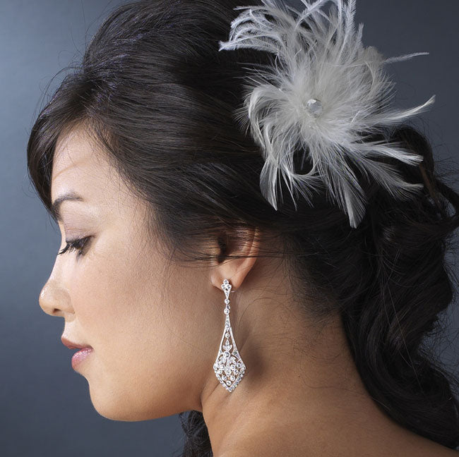 Bridal Feather Hair Comb Feather Fascinator Clip White or Ivory