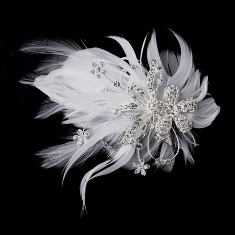 Feather Silver Crystal Bridal Hair Clip with Brooch Pin
