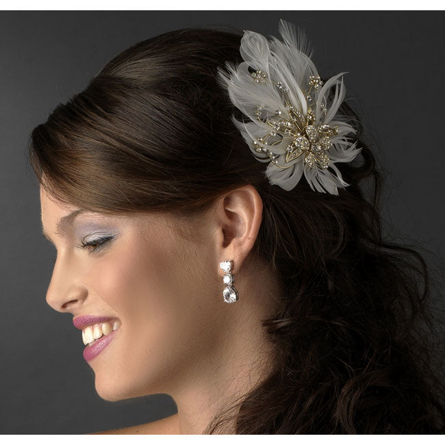Gold Bridal Hair Clip Clear Rhinestones & Ivory Feather