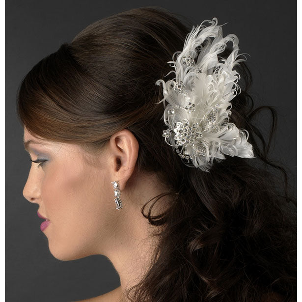 Feather Bridal Hair Clip with Silver Clear Rhinestones White or Ivory