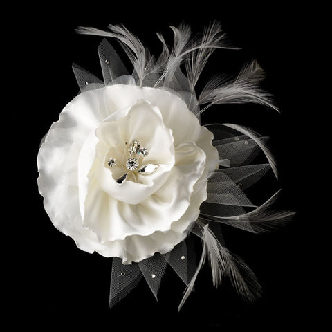 Flower Bridal Clip with Brooch Pin (White or Ivory)