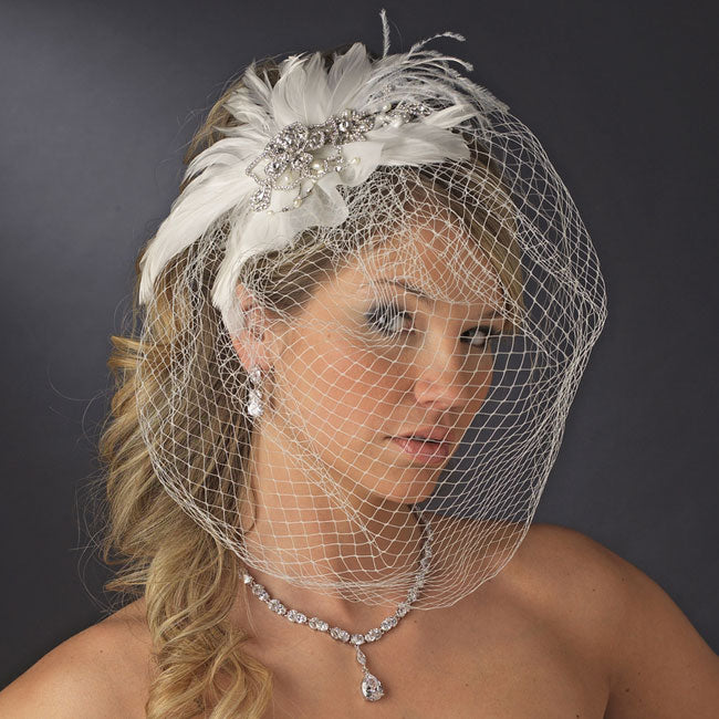 Vintage Couture Feather Bridal Headpiece with Bird Cage Veil Clip White or Ivory