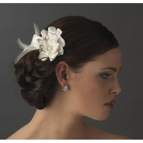 Silver Ivory or White Feather Ribbon Bridal Hair Clip