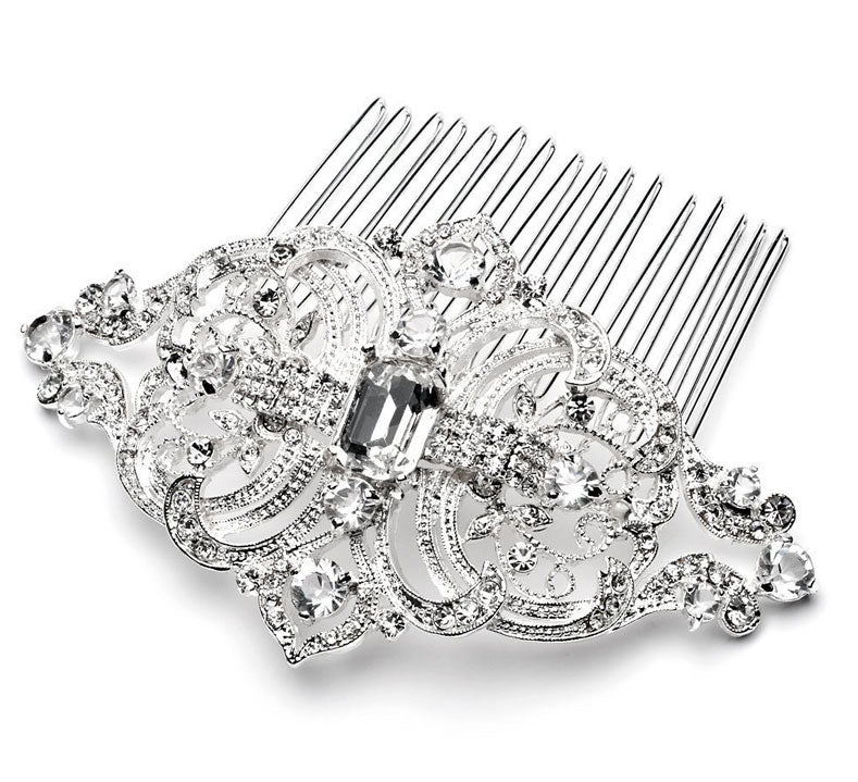 Antique Silver Clear Vintage Rhinestone Bridal Hair Comb
