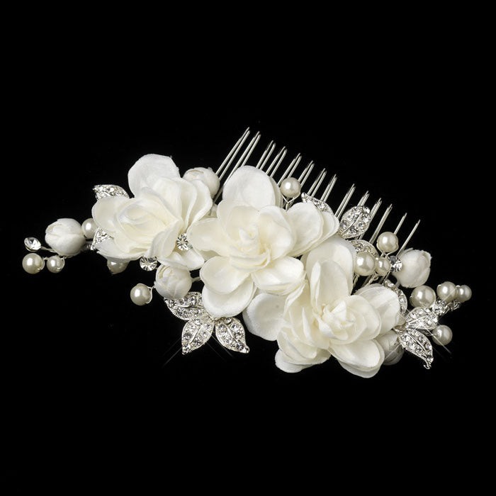 Bridal Hair Comb Silver Ivory Floral Hair Comb Pearl and Rhinestone