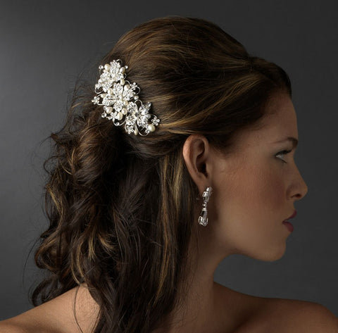 Silver Floral Bridal Comb with Clear Rhinestones & Ivory Freshwater Pearls