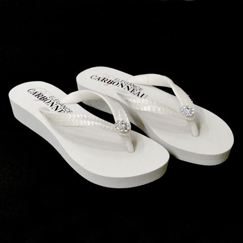 Bridal Flip Flops with Sequins & Swarovski Crystal (White or Ivory or Black)