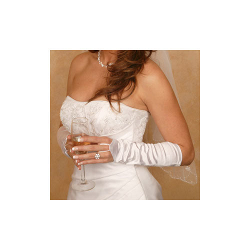 Satin Fingerless Elbow Length Bridal Glove (White or Ivory)
