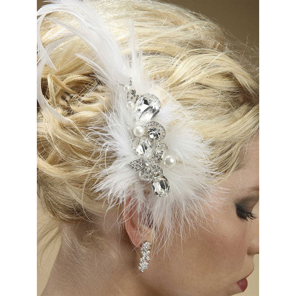 Lavish Swarovski Crystal and Pearl Feather Fascinator