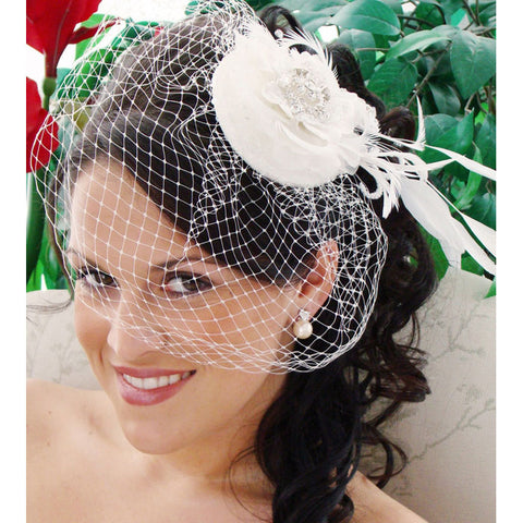 Exquisite Bridal Hat and Birdcage Veil on Clip White or Ivory