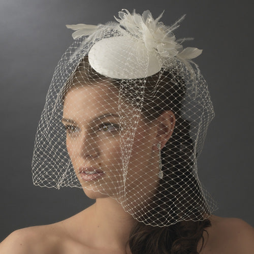 Vintage Bridal Hat with Bird Cage Face Veil (White or Ivory)