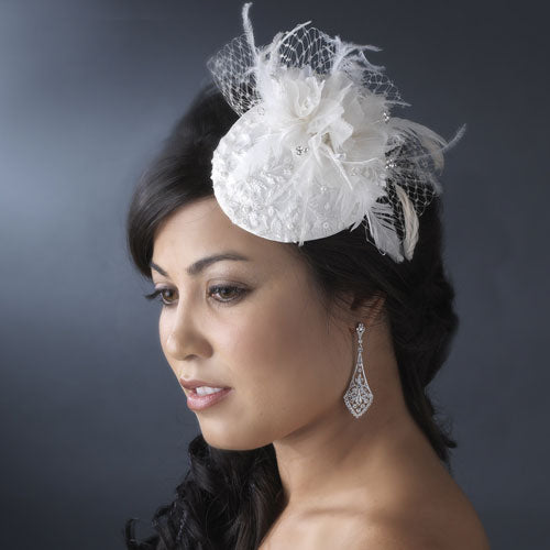 Vintage Bridal Hat with Bird Cage Veil White or Ivory