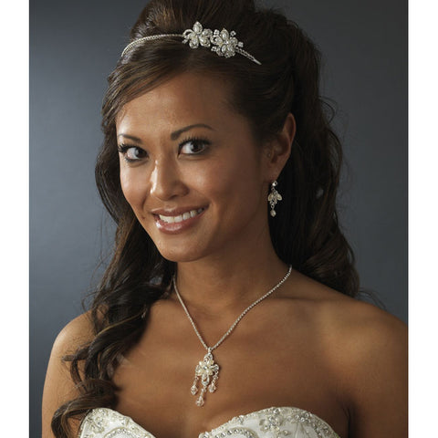 Bridal Headband with Pearl & Crystal Flower Side Accents