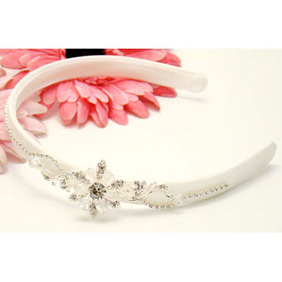 Elegant Headband with Crystal Flower Accent