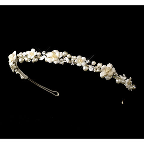 Ivory Porcelain Pearl Flower Bridal Headband