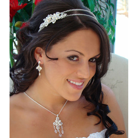Exquisite Crystal & Pearl Bridal Tiara Band with Side Ornament
