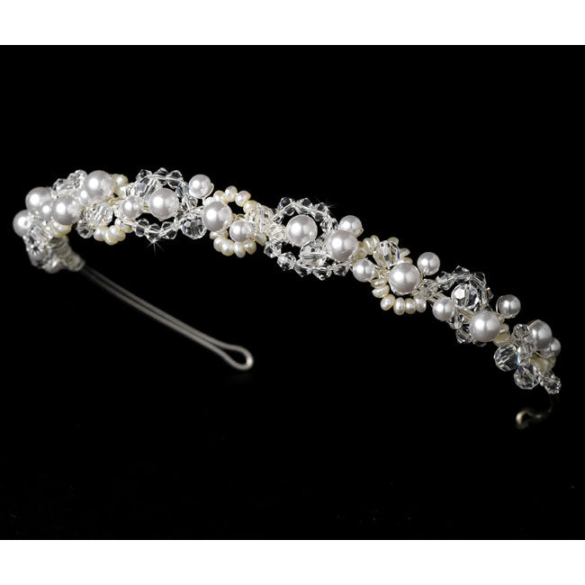 Swarovski & Pearl Bridal Headpiece (White or Ivory)